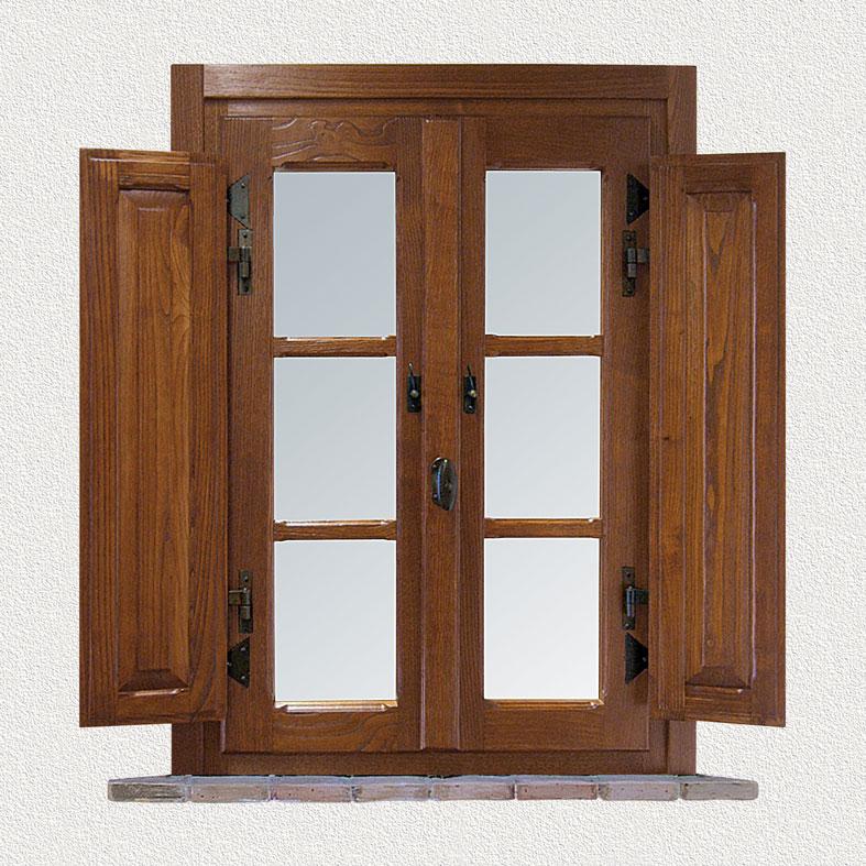 Finestra casale in legno massello di castagno invecchiato for Infissi di legno
