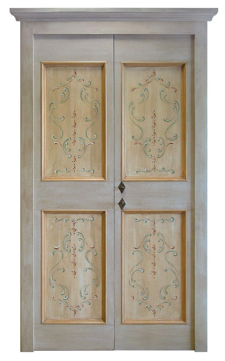 PORTA mod. Oro 803 in legno massello gessato, patinata e decorata a ...